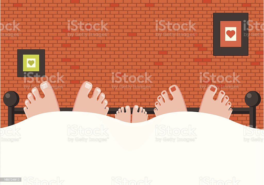 Loving Family, Feet in Bed vector art illustration