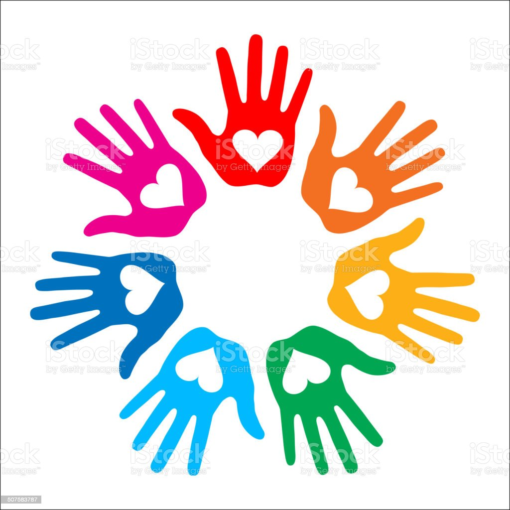Loving Hand Print icon 7 colors vector art illustration