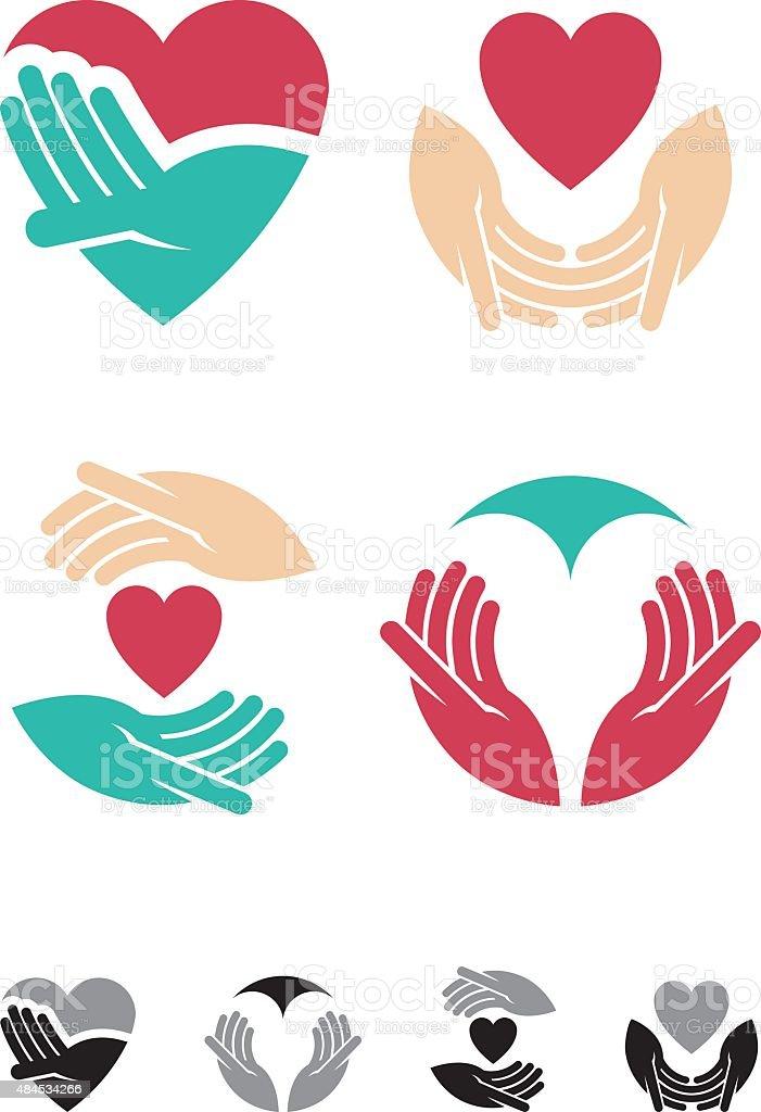 Loving Hands vector art illustration