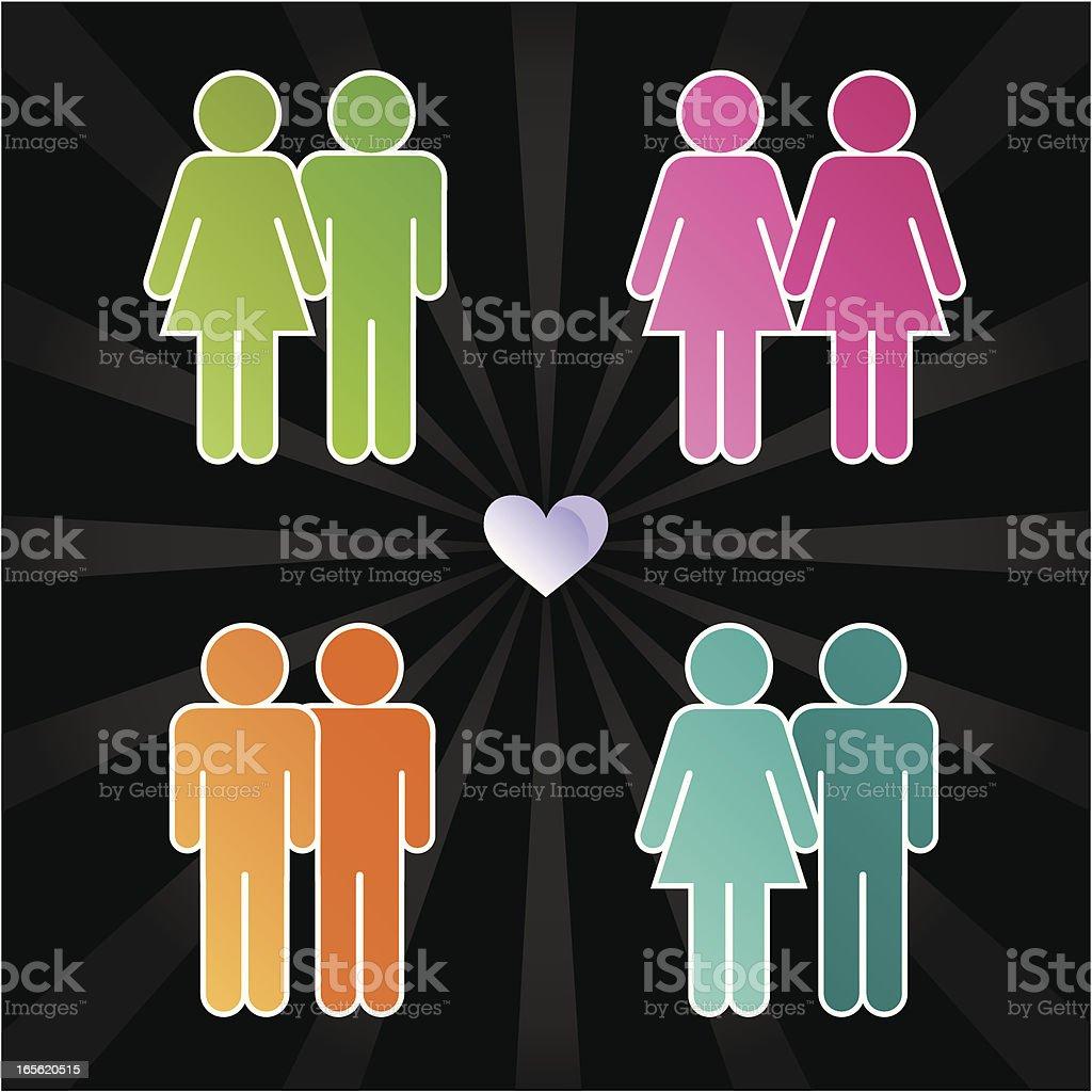 Loving people vector art illustration