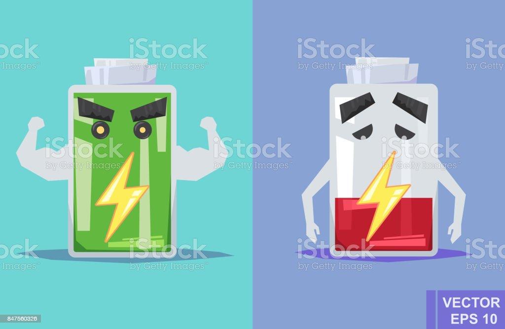 Low battery and full. Vector flat illustration. cartoon image vector art illustration