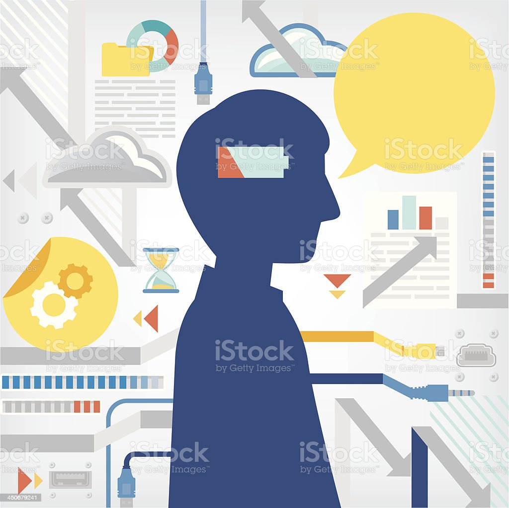 Low battery symbol where a human brain should be vector art illustration