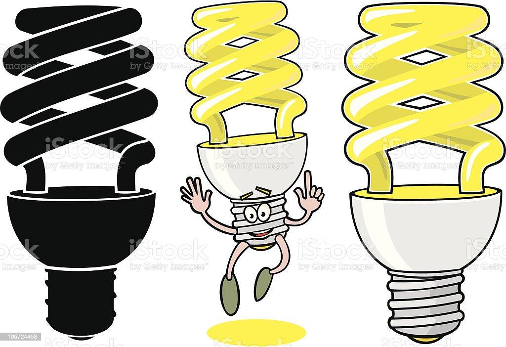 Low Energy Lightbulb Set vector art illustration