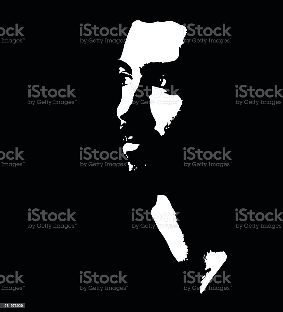 Low key portrait of pensive young bearded man vector art illustration