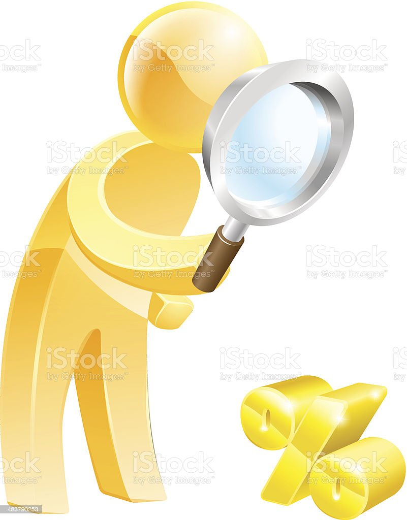 Low percentage rate search vector art illustration