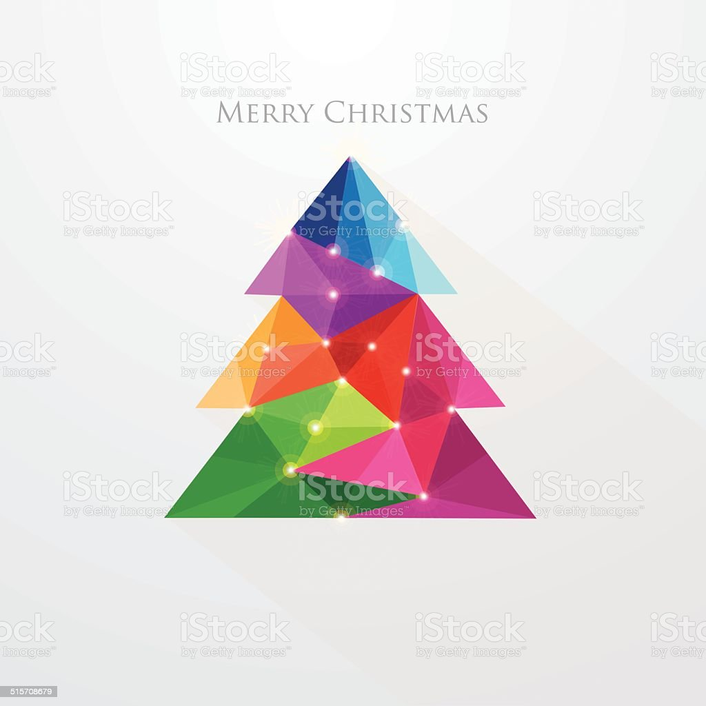 low poly art style multicolored Christmas tree greeting card vector art illustration