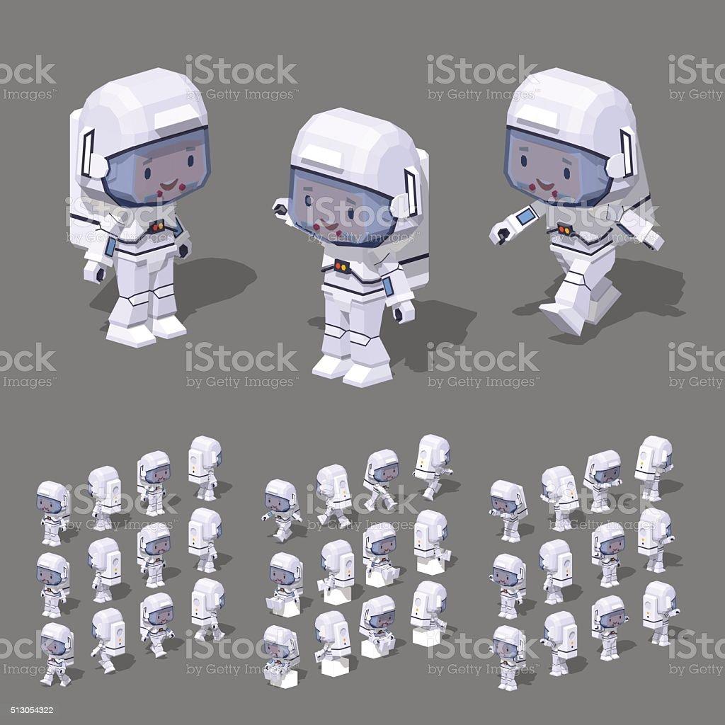 Low poly astronaut vector art illustration