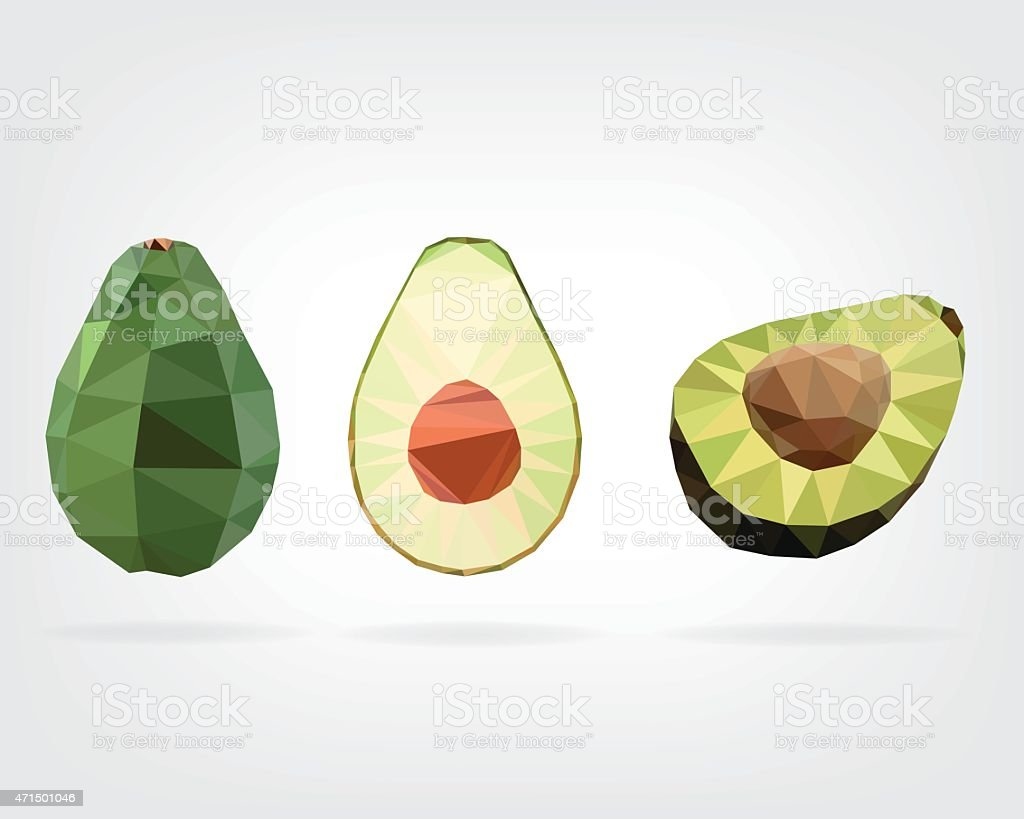 Low Poly Avocado Fruit vector art illustration