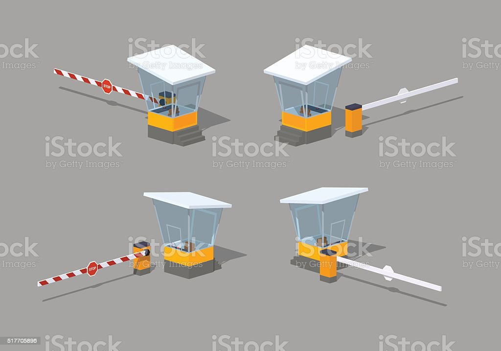Low poly barrier and toll booth vector art illustration