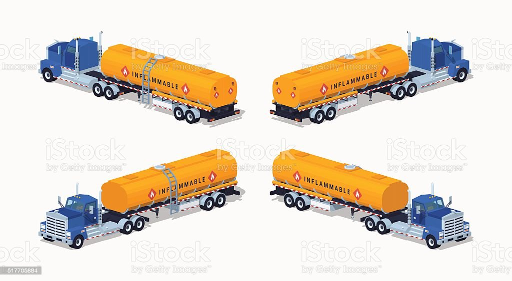 Low poly blue truck with the orange fuel tank vector art illustration
