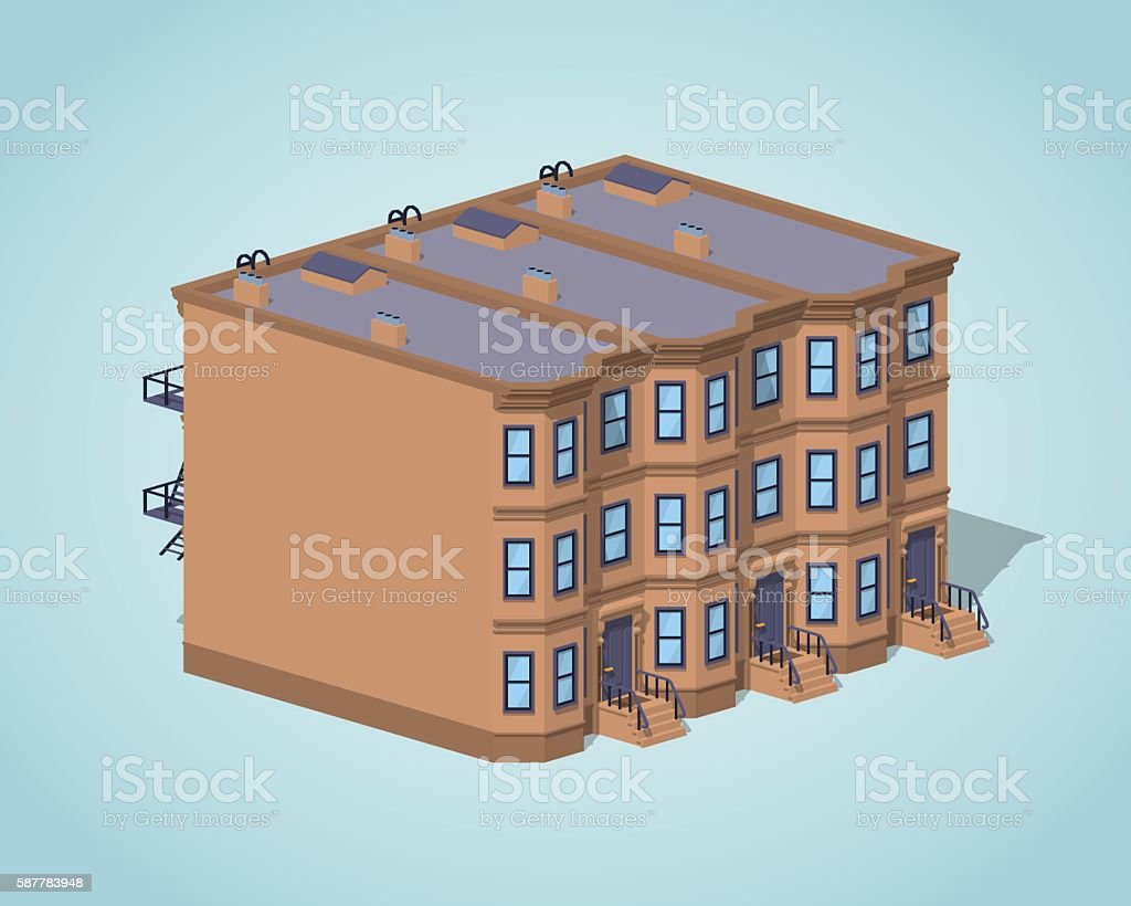 Low poly brownstone town house vector art illustration