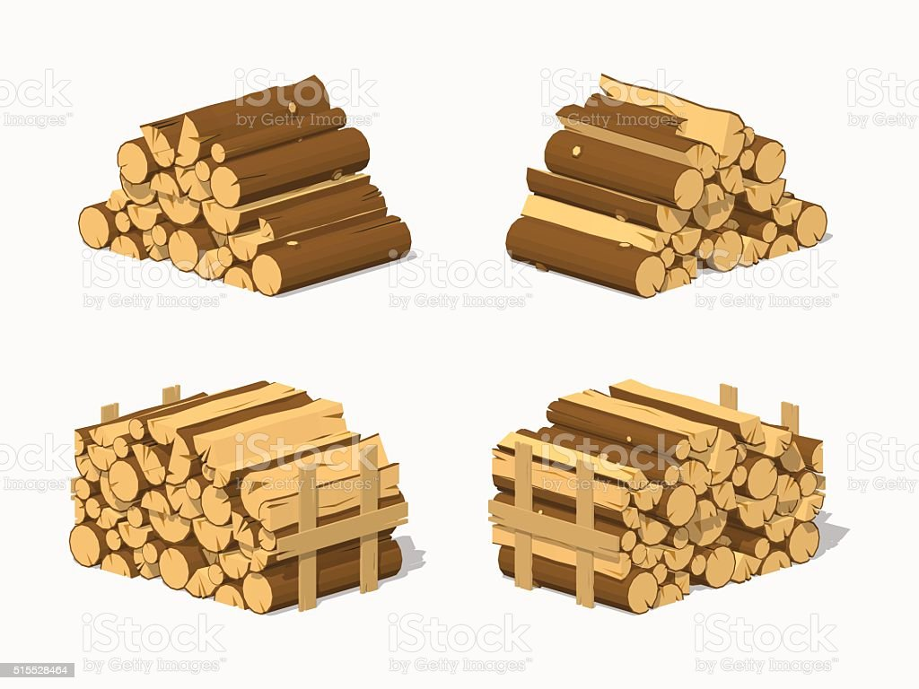 Low poly firewood stacked in piles vector art illustration