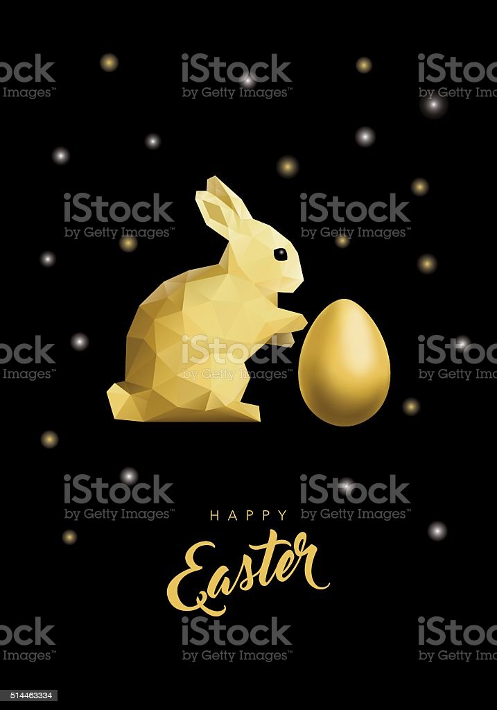 Low Poly Gold Easter Rabbit and Egg on Shiny Black vector art illustration