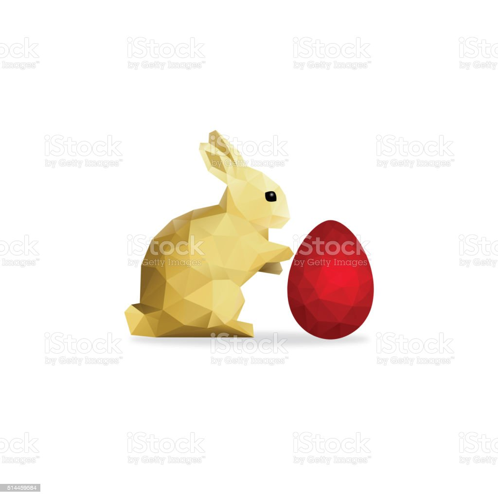 Low Poly Gold Rabbit and Red Easter Egg over White vector art illustration