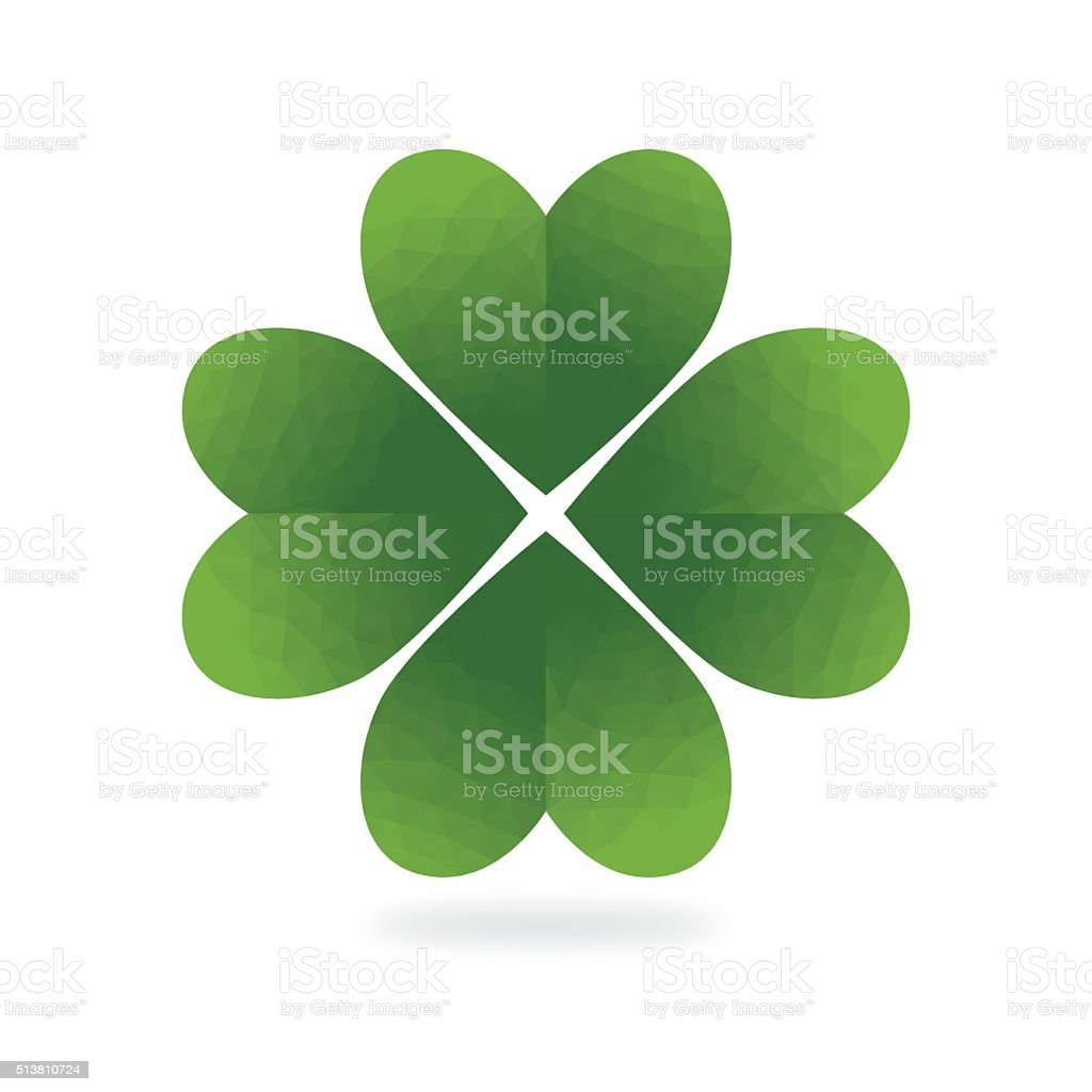 Low Poly Green Four Leaf Clover White Background vector art illustration