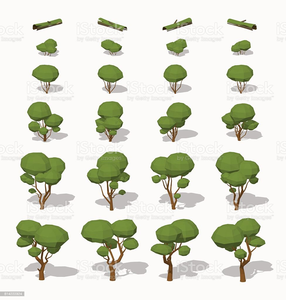 Low poly green trees vector art illustration