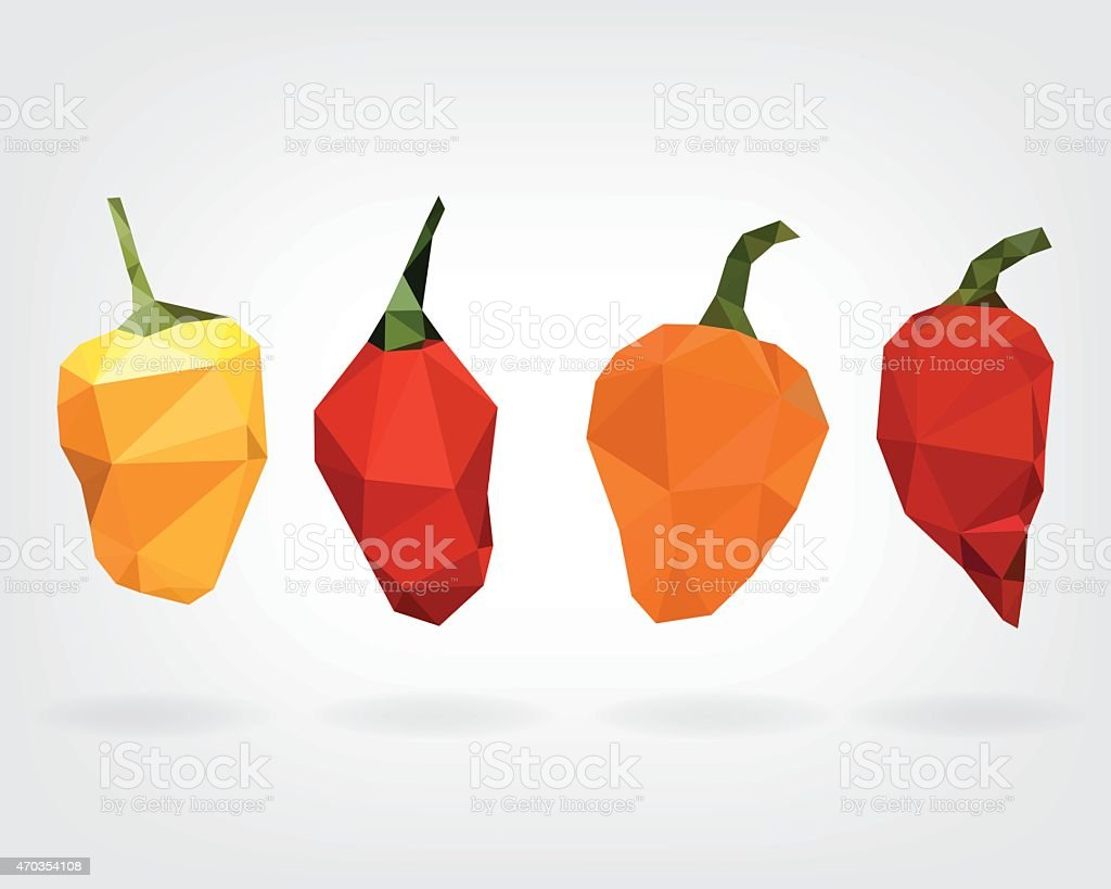 Low Poly Habanero Pepper vector art illustration