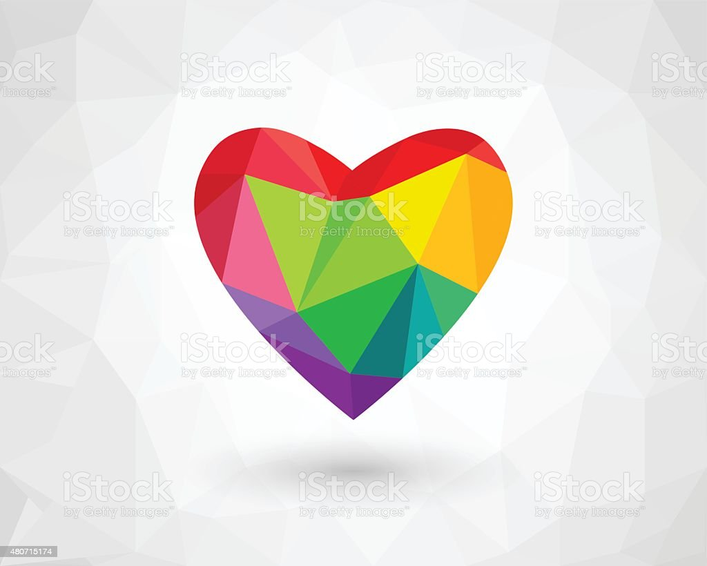 Low poly heart in rainbow color vector art illustration