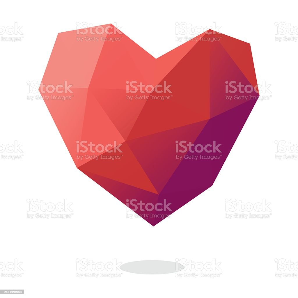 Low Poly Heart Shape vector art illustration