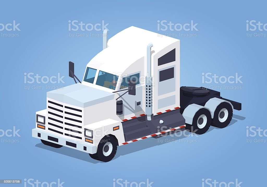 Low poly heavy american white truck vector art illustration
