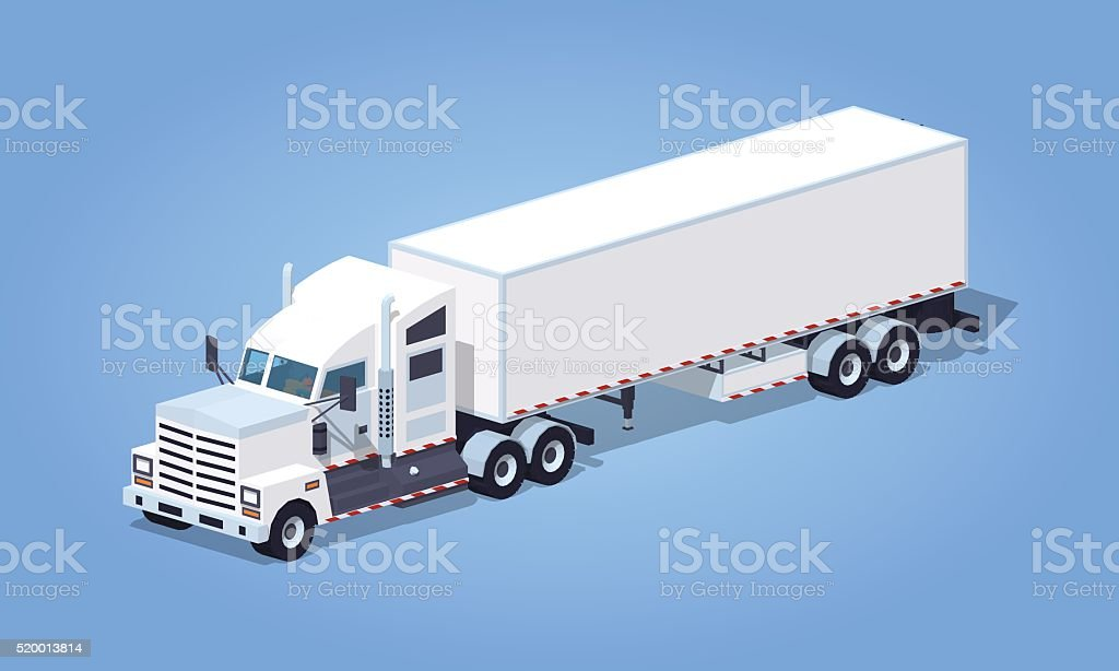 Low poly heavy american white truck with the trailer vector art illustration