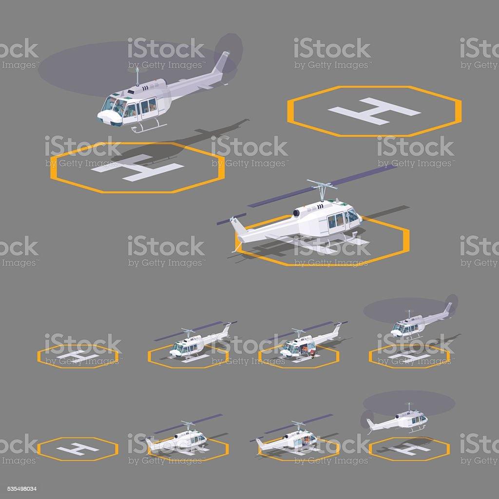 Low poly heli pad vector art illustration