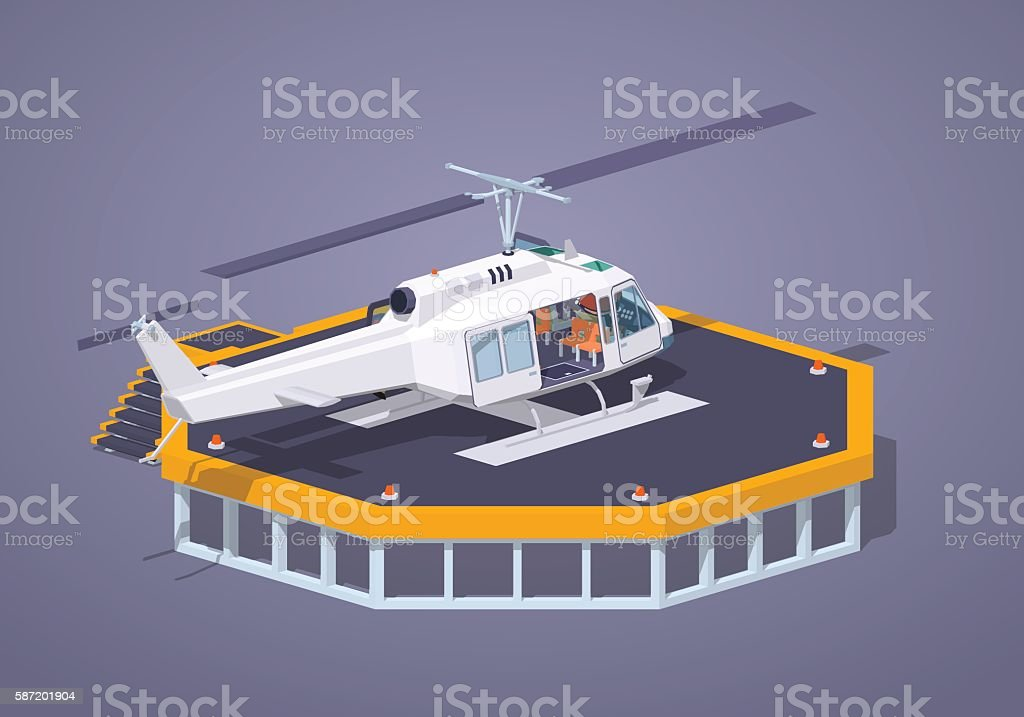 Low poly heli pad vector art illustration