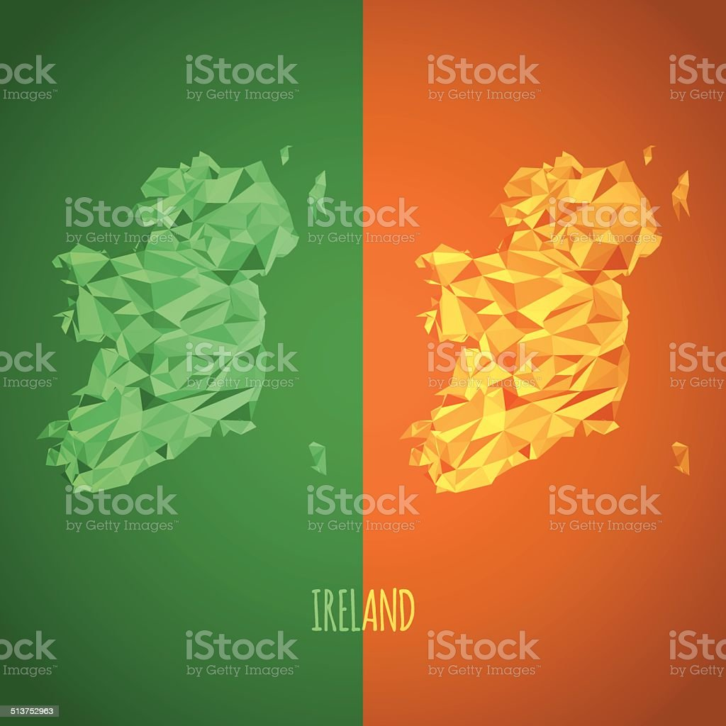 Low Poly Ireland Map with National Colors vector art illustration