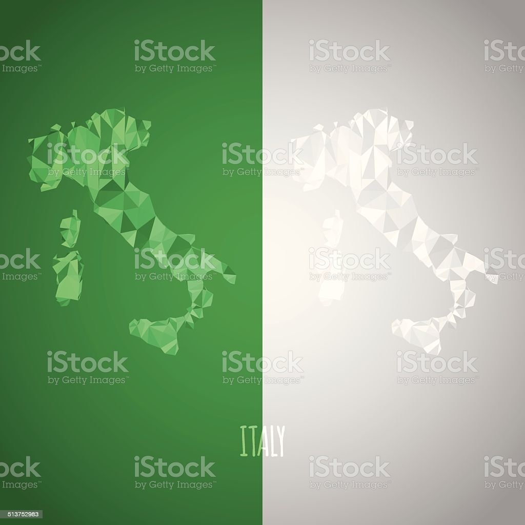 Low Poly Italy Map with National Colors vector art illustration