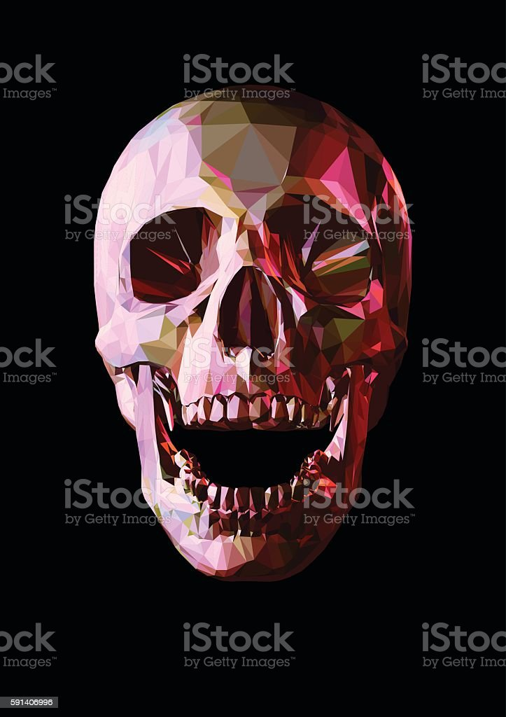 Low poly laugh skull on dark background vector art illustration