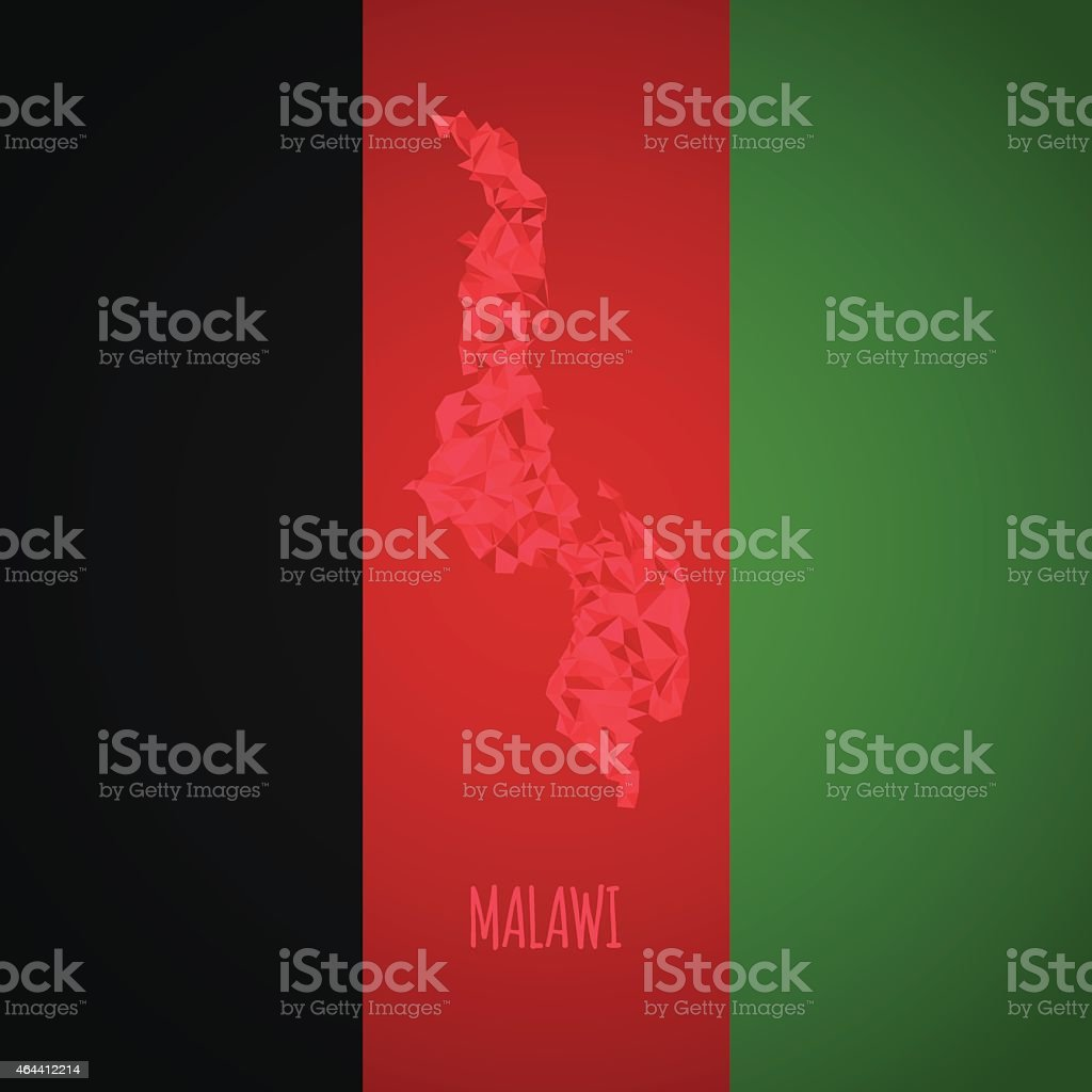 Low Poly Malawi with National Colors vector art illustration