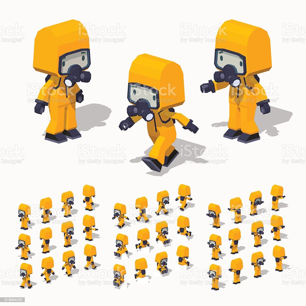 Low poly man in the protective suit vector art illustration