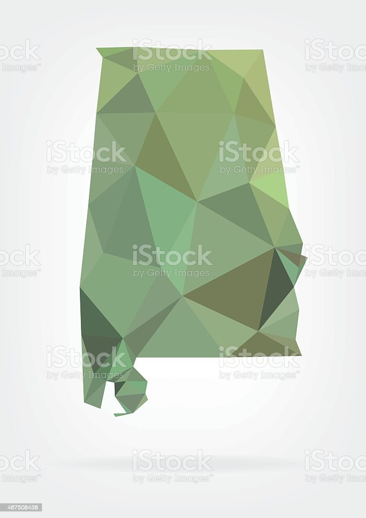 Low Poly map of Alabama state vector art illustration