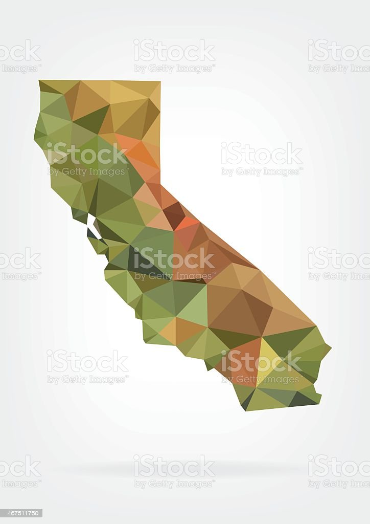 Low Poly map of California state vector art illustration