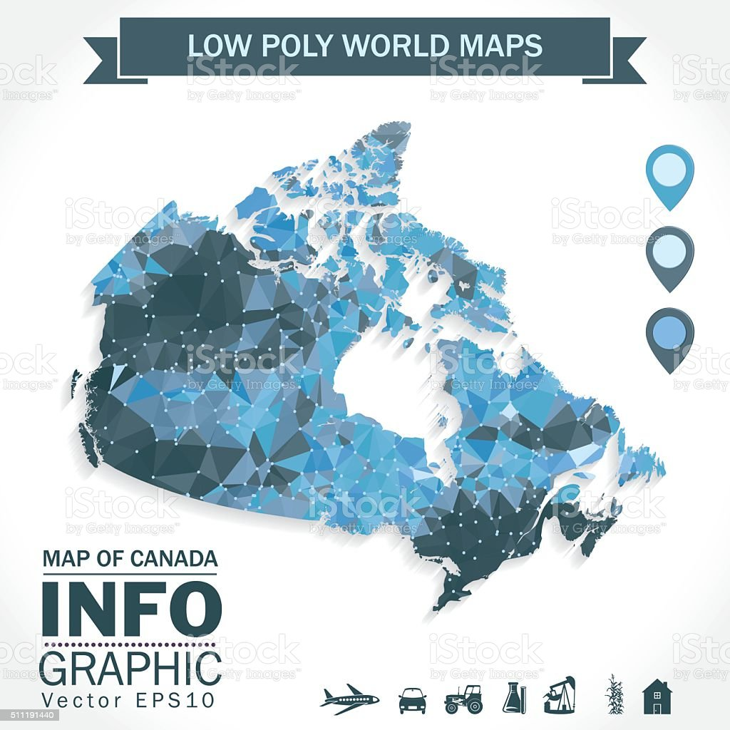 Low Poly Map of Canada With Icons and Banner Blue vector art illustration