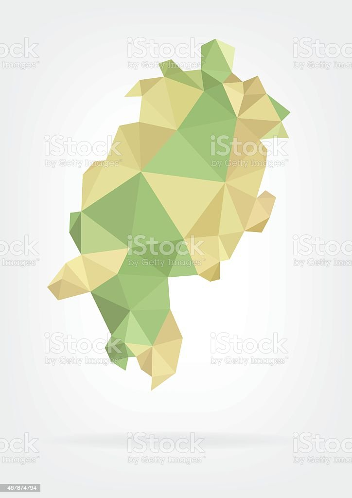 Low Poly map of german region Hessen vector art illustration