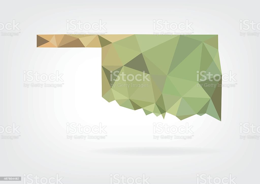 Low Poly map of Oklahoma state vector art illustration
