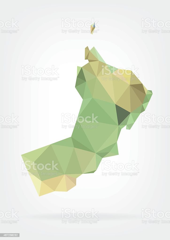 Low Poly map of Oman vector art illustration