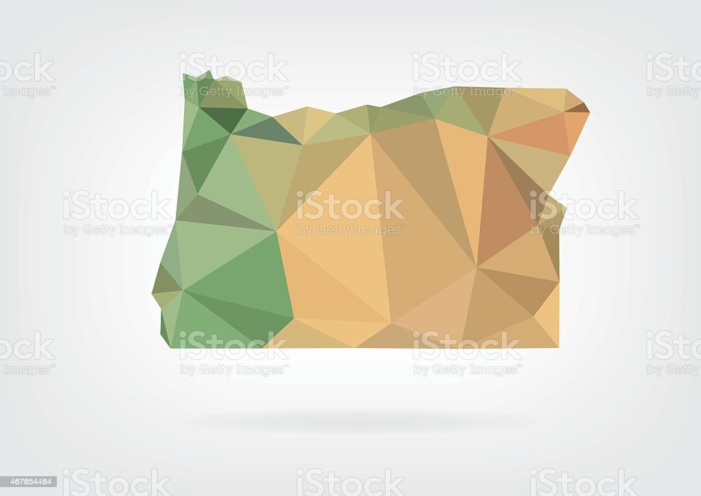 Low Poly map of Oregon state vector art illustration