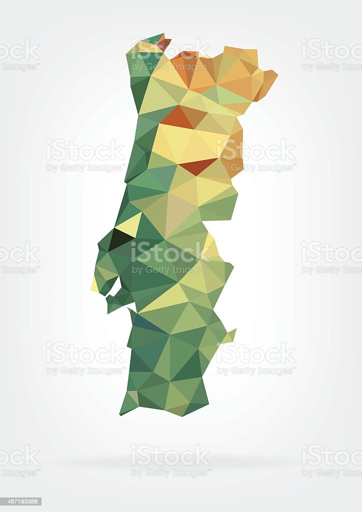 Low Poly map of Portugal vector art illustration