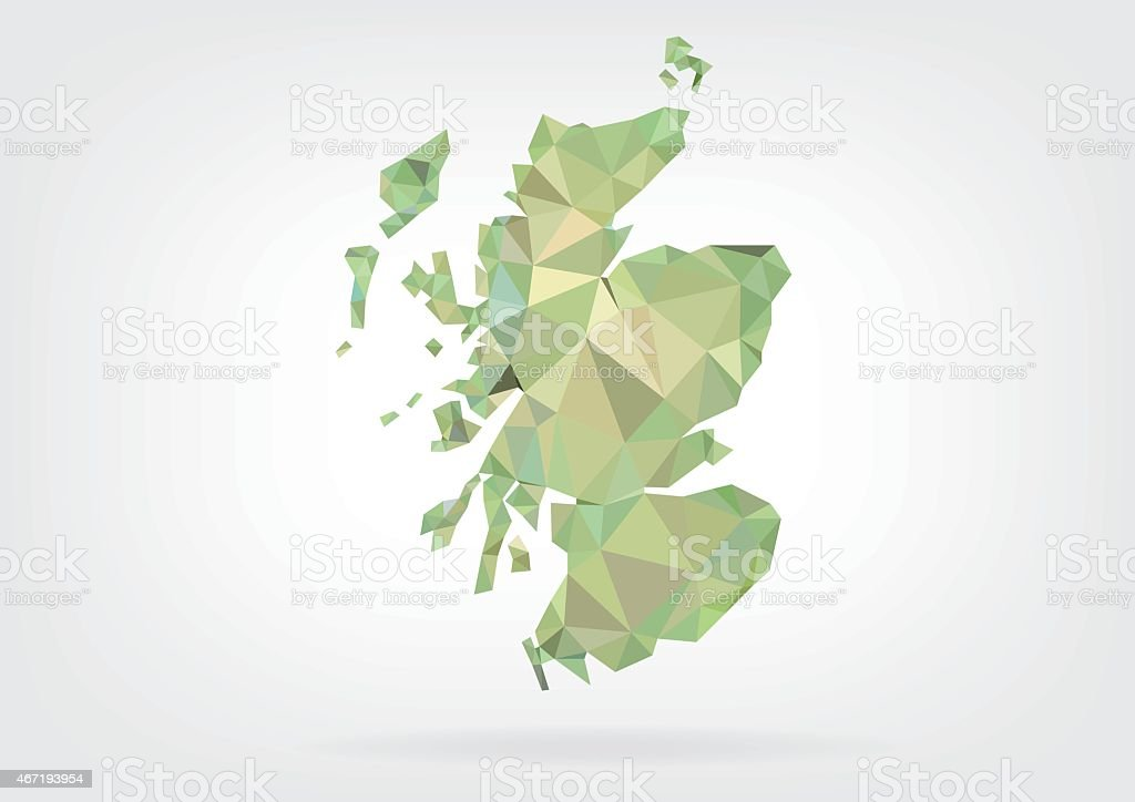 Low Poly map of Scotland vector art illustration