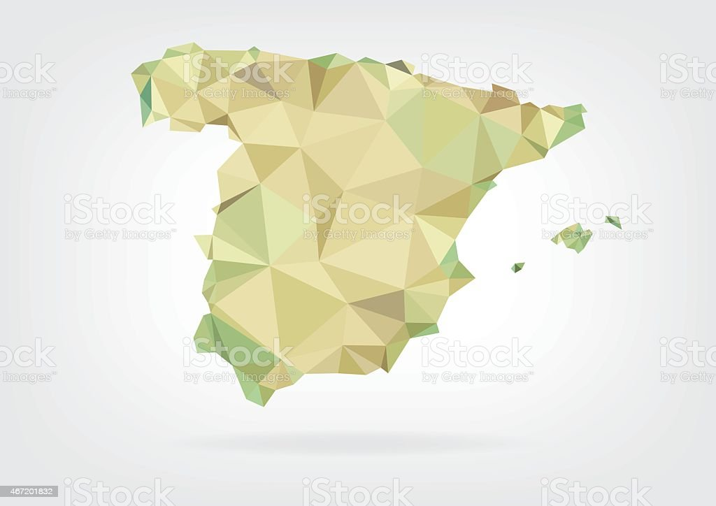 Low Poly map of Spain vector art illustration