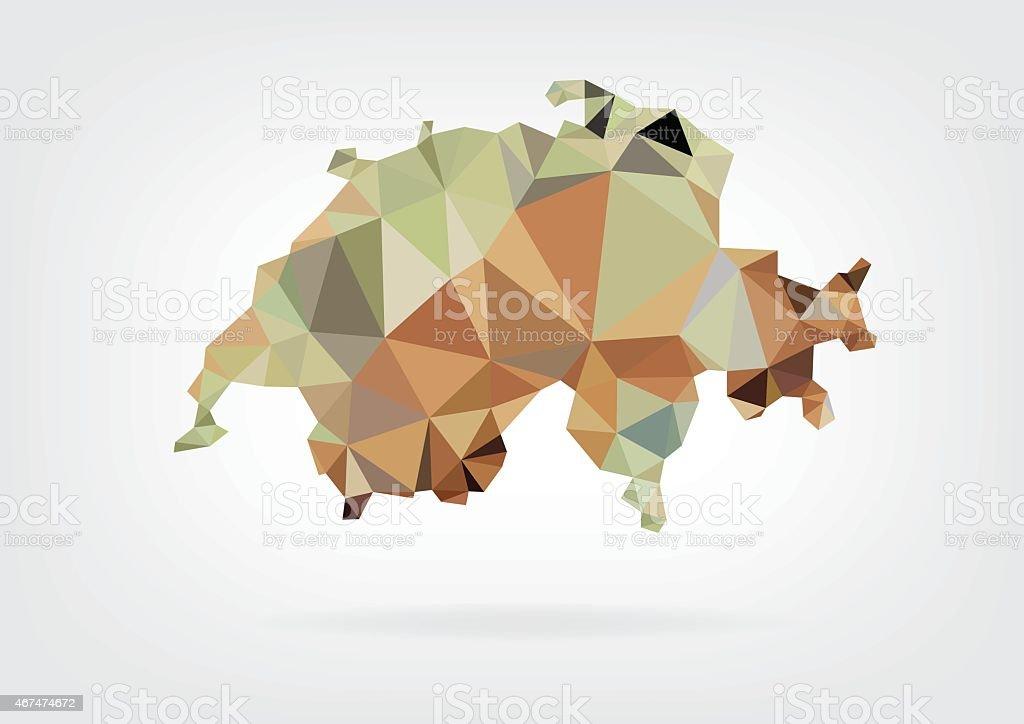 Low Poly map of Switzerland vector art illustration