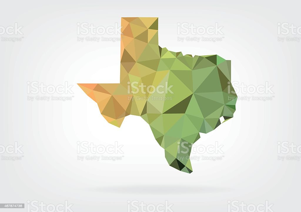 Low Poly map of Texas state vector art illustration