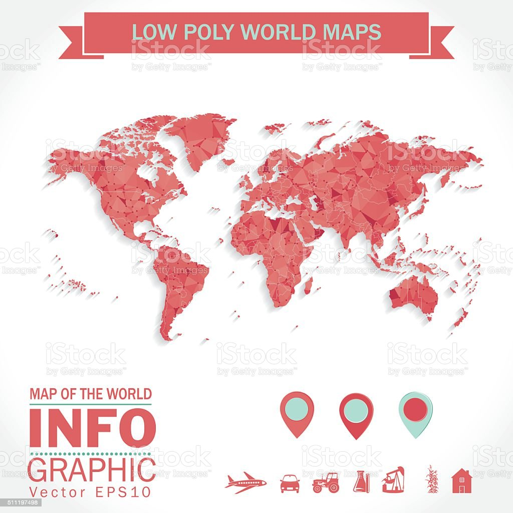Low Poly Map of The World With Icons vector art illustration