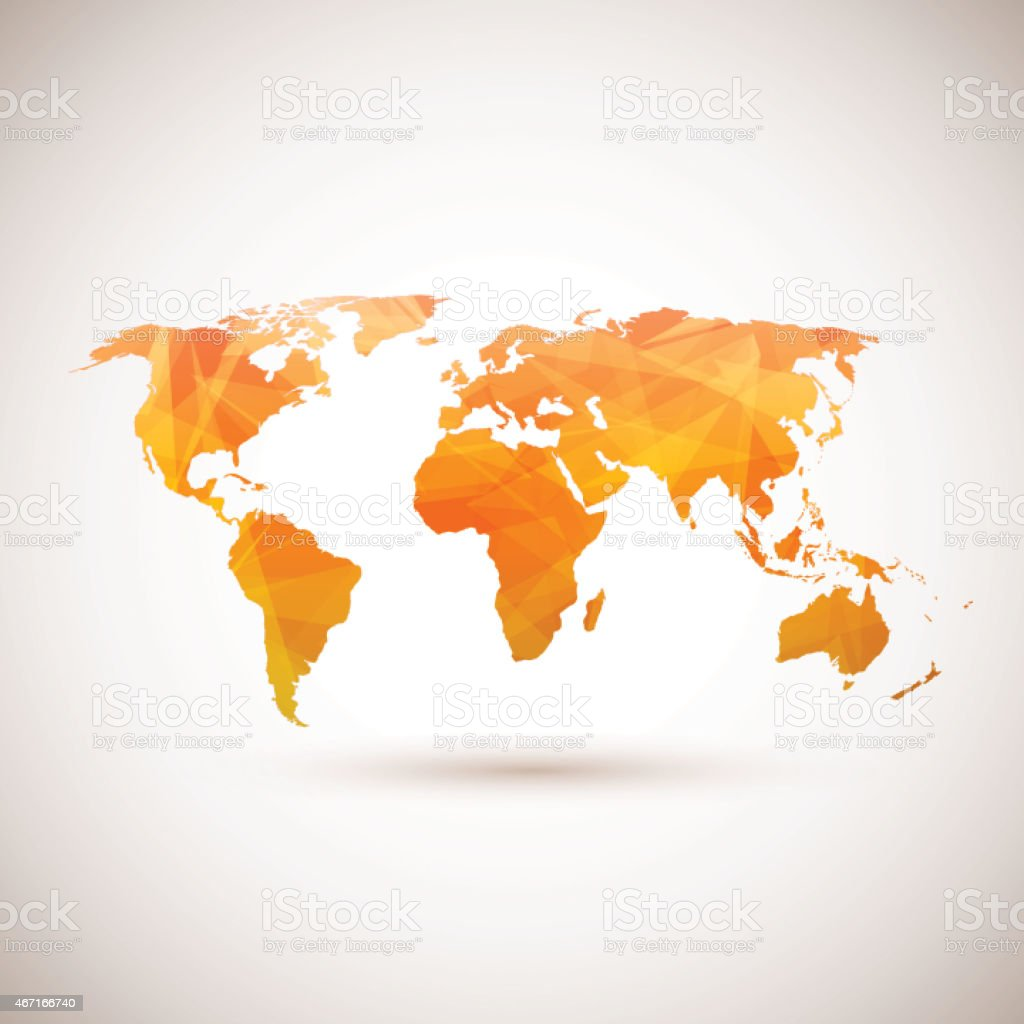 Low poly orange vector world map. vector art illustration