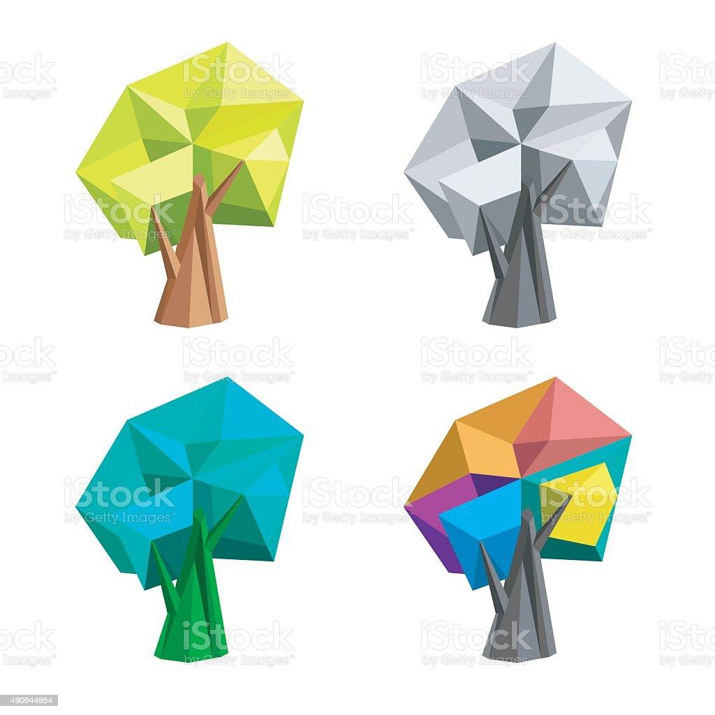 Low poly polygonal tree. Abstract vector Illustration. Logo design. vector art illustration