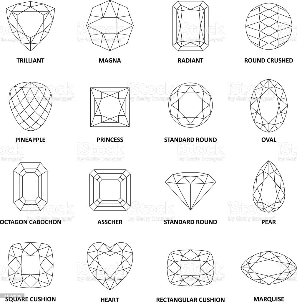 Low poly popular black outlined gems cuts vector art illustration