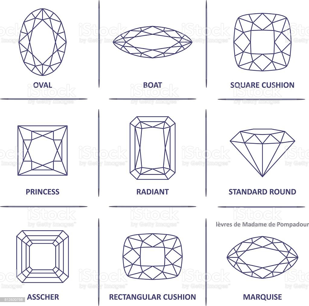 Low poly popular blueprint outline gems cuts infographics vector art illustration