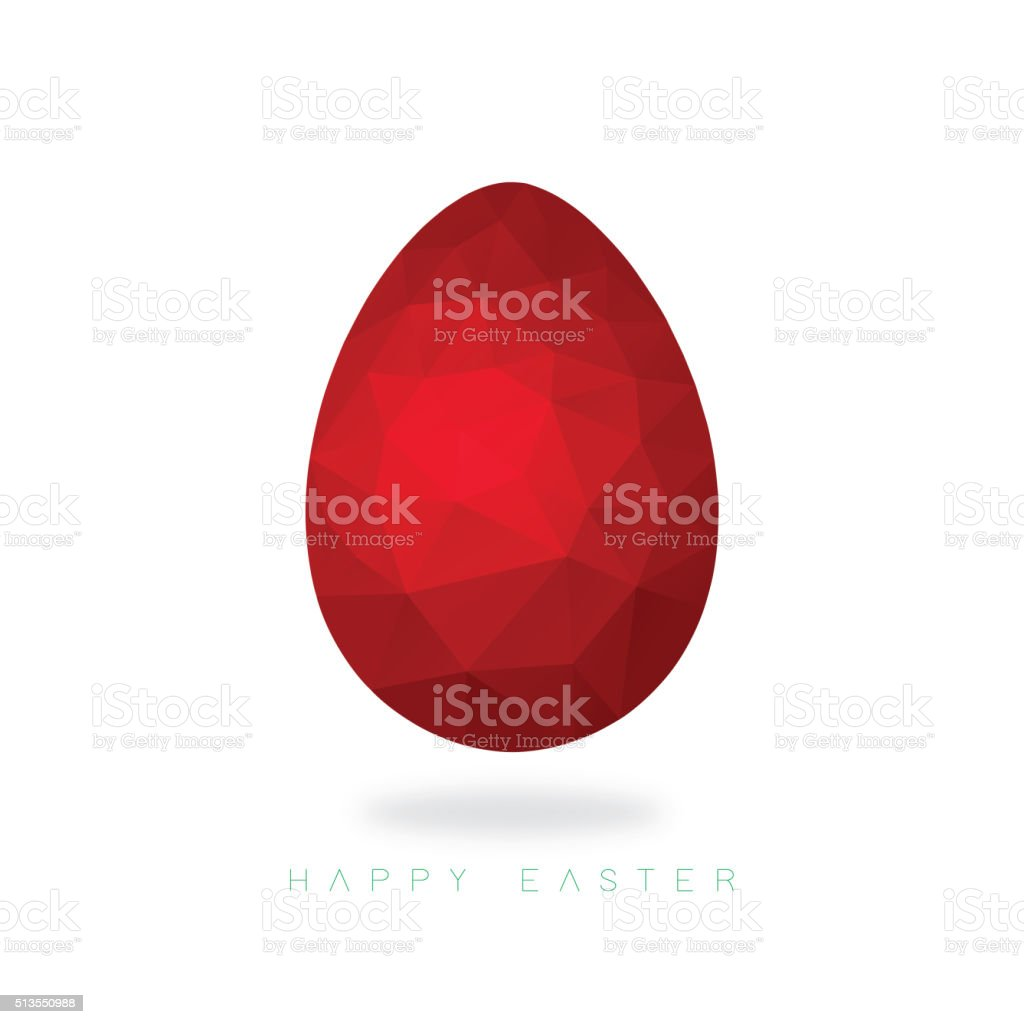 Low poly red Easter egg on an ice white background vector art illustration